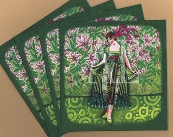 PN107 Set of 4 Paper Napkins byWild Eye Designs ~ 5x5 Snazzy 1920s Flapper Green Cocktail Dress Pink Tiger Lillies Fuschia Feather Headdress