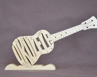 Ukulele Musical  Instrument Puzzle Wooden Toy Hand Cut with Scroll Saw