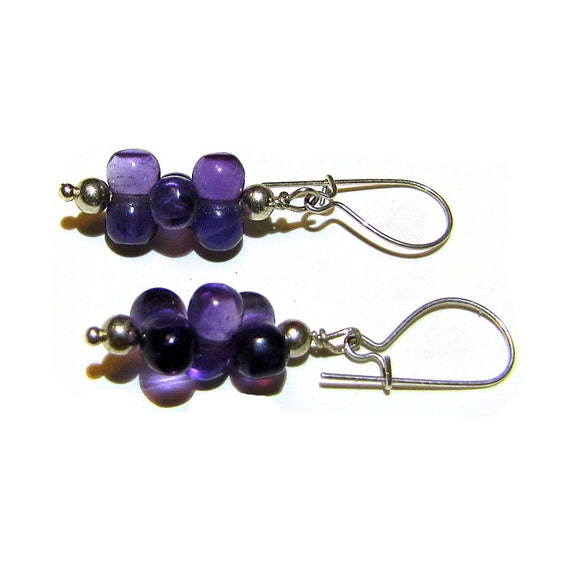 Amethyst Cluster and Sterling Silver Dangle Earrings