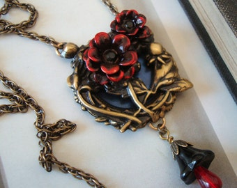 Gothic Blood Rose Necklace, Blood Drop Floral Embellishment Dangle, Metal Bonded Together For Quality Jewelry Component, NOT GLUED, Handmade