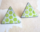 Chartreuse Enamel Stud Earrings