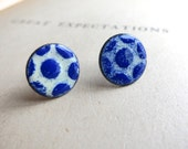 Cobalt and Cream Enamel Studs