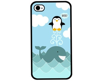 Phone Case - Whale and Penguin - Hard Case for iPhone 4, 4s, 5, 5s, 5c, SE, 6, 6 Plus, 7, 7 Plus - iPod Touch 4, 5/6 - Galaxy