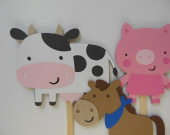 Farm Animal Cupcake Toppers - Cow, Horse and Pig - Birthday Decorations - Baby Showers - Set of 6