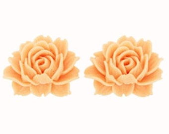 """CLEARANCE - 24 pieces-Large Rose Cabochon 1 1/2"""" (40 mm) in PEACH"""
