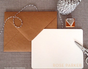 Custom Letterpress Note Cards - Set of 50 w/Kraft Envelopes - Neutral Design