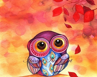 Owl Decor - Bird Print - Bird Art - Owl's First Fall Leaf - Animal Print - Woodland Nursery - Watercolor Owl - Owl Illustration - Owl Print