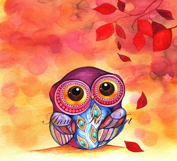 Owl's First Fall Leaf - FREE SHIPPING - Autumn Forest Woodland Watercolor Illustration Print