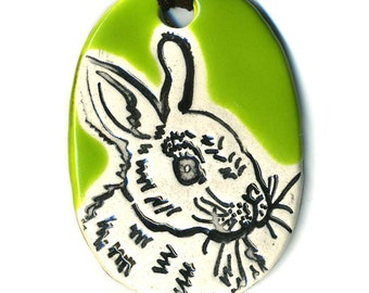 Bunny Ceramic Necklace in Green