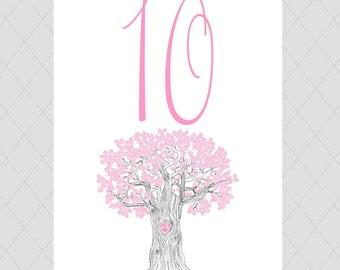 Oak Tree Wedding Table Numbers
