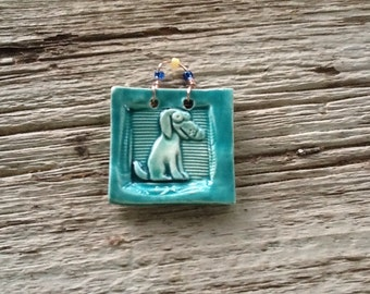 Miniature Happy Puppy Tile in Turquoise