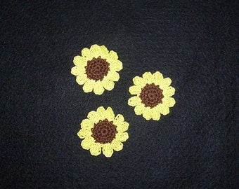 Crochet Sunflower Sewing Applique Set of 3