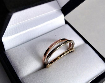 Wedding Band - Stacking rings - 14k Gold Stacking Rings - Gold Wedding Rings - 14 karat gold rings - Yellow Gold Ring - Rose Gold Ring R4072