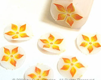 Orange starflower , fimo nail art cane, 2-inch (5cm) long polymer clay cane, DIY, Miniatures, Scrapbooking, Made in USA