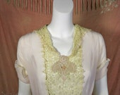 Gatsby Flapper 1920's Lace And Silk Chiffon Blouse   On Sale Was 125.00  NOW 98.00