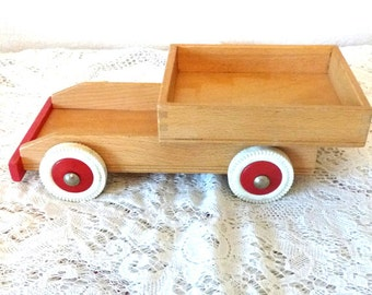 Vintage toy childs red pretend play car truck pickup
