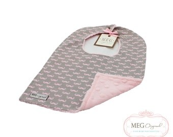 s a l e - Pink Mustache Bib { Baby-to-Toddler Adjustable Snap Bib } 8850