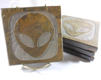 Alien Stone Coasters - 4 Etched Slate Coasters, Sci Fi Fan Gift, Carved Slate Coasters, Gray Grey Head, Extraterrestrial X Files Coasters