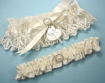 Personalized Ivory Wedding Garter Set in Lace and Satin with Pearls, Rhinestones and Engraving