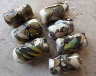 stoursglass  Ivory Shards Lampwork Beads