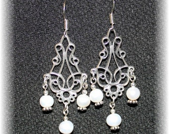 Exquisite Bridal Chandelier Earrings Sterling Silver and White Pearls 814Chand05