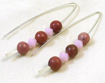Rhodonite and Crystal V Style Sterling Silver Earrings