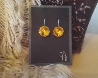 Rhodium Plated 12mm Sunflower Swarovski Crystal Earrings