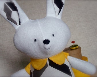 Bella Bunny - Plush Rabbit Doll - white bunny with black and white chevron print dress