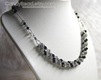 Swarovski Necklace, Black and Gray Twisty Swarovski Crystal Silver Necklace