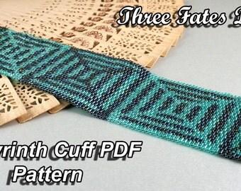 Labyrinth // Cuff Pattern // Bracelet // Seed Bead // Peyote Stitch // Gourd Stitch