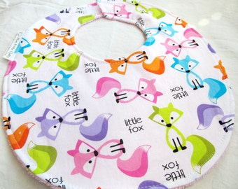 Baby Girl or Toddler Bib - Little Fox - brightly colored foxes -  cotton bib with terry cloth backing