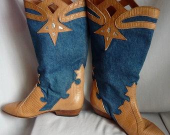 Vintage Denim n Leather Cut Out Boots size 7 M  ITALY Eu 37 .5 UK 4 .5  Fabric CAPORICCI Rockabilly Western Flat Heel