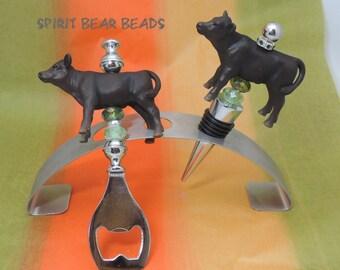 Black Angus Beef Calf Beaded Bottle Opener or Wine Stopper Cattlemen Rancher Cowboy Christmas