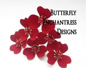 Red Hair Flowers, Bridesmaid Hair Accessories, Rustic Woodland Wedding - 6 Mckenna Trillium Blossom Flower Hair Pins