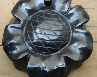 Black Onyx Hand Carved Flower