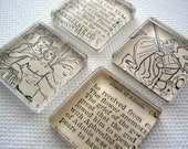 Set of 4 Ancient Greece Glass Tile Magnets / Super Strong / Ready to Ship