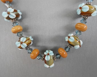 Wood Nymph - Lampwork glass & Crystal Necklace Set