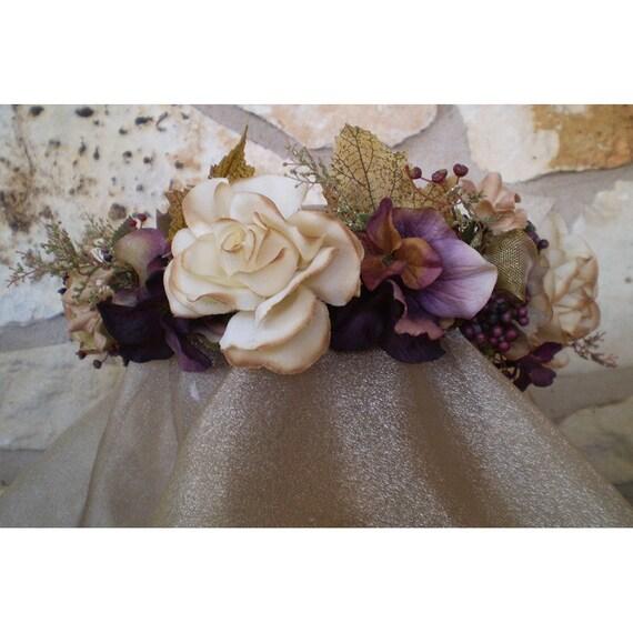 floral head wreath flower bridal crown women's fashion hair accessory renaissance faerie costume