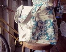 Dragonfly and Aqua Blue Diaper Bag Custom with Six Pockets Key Fob