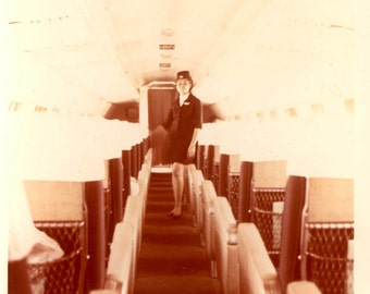 vintage photo 1960s Airline Stewardess inside Airplane Color Square