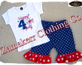 Custom Boutique Clothing 4th of July Girl Pant Outfit Set Pageant Knit Tee Tshirt Memorial Day 3 6 12 18 24 9 month size 2t 2 3t 4t 5t 6 7 8