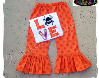 Custom Boutique Clothing Girl Halloween Outfit LOVE SPIDER Tshirt Tee Costume Gift Pant Set 3 6 9 12 18 24 month size 2T 3T 4T 5T 6 7 8