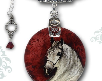 Horse Necklace - Reversible Glass Art - The Alhambra Collection - The Andalusian Crown of Castile