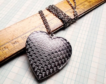 large silver heart locket necklace very long
