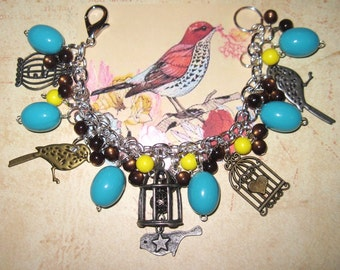 Bird & Birdcage Charm Bracelet OOAK Eclectic Vintage Style Statement Piece Turquoise Yellow Brown Beads