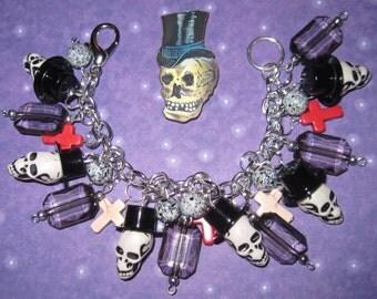 Skull Charm Bracelet Mr. Bones Top Hat & Crosses Punk Rock N Roll Psychobilly Jewelry OOAK Statement Piece