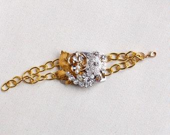 Upcycled Vintage Bracelet / Gold Silver / Rhinestone Assemblage Cuff Bracelett