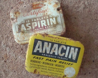 Rusty Metal Aspirin Medicinal Pill Tin Box Hinged Found Object  Primitive Assemblage or Altered Art