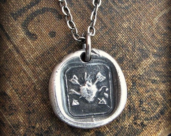 Flaming Heart and Arrows French wax seal necklace - undying love and affection - E2300
