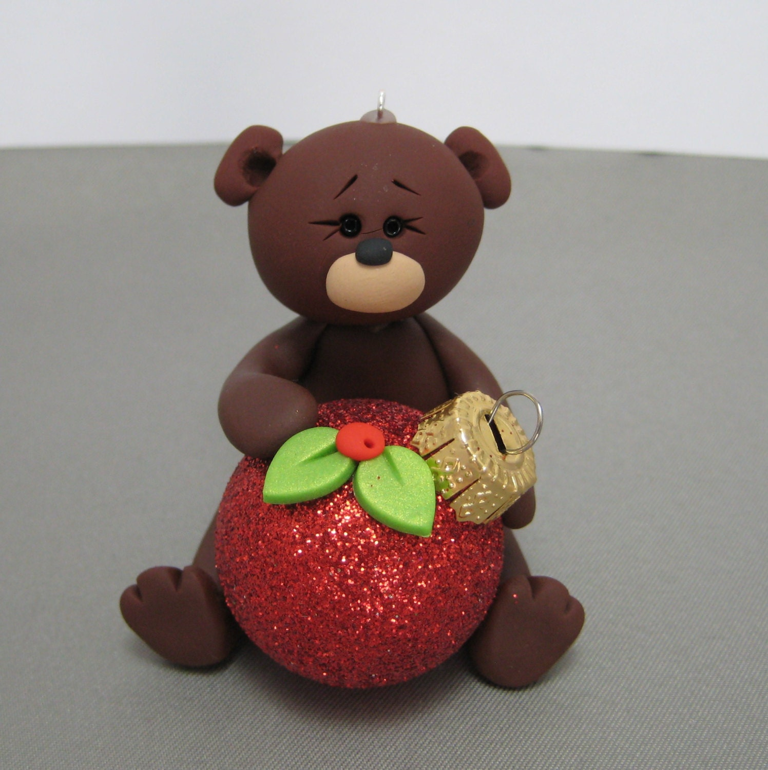 Polymer Clay Christmas Ornament: Teddy Bear Polymer Clay Christmas Ornament Red Glitter